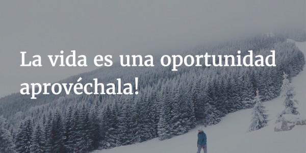 La vida es una oportunidad, aprovéchala!!