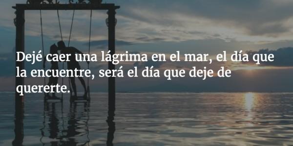 Dejé caer una lágrima en el mar, el día que la encuentre, será el día que deje de quererte